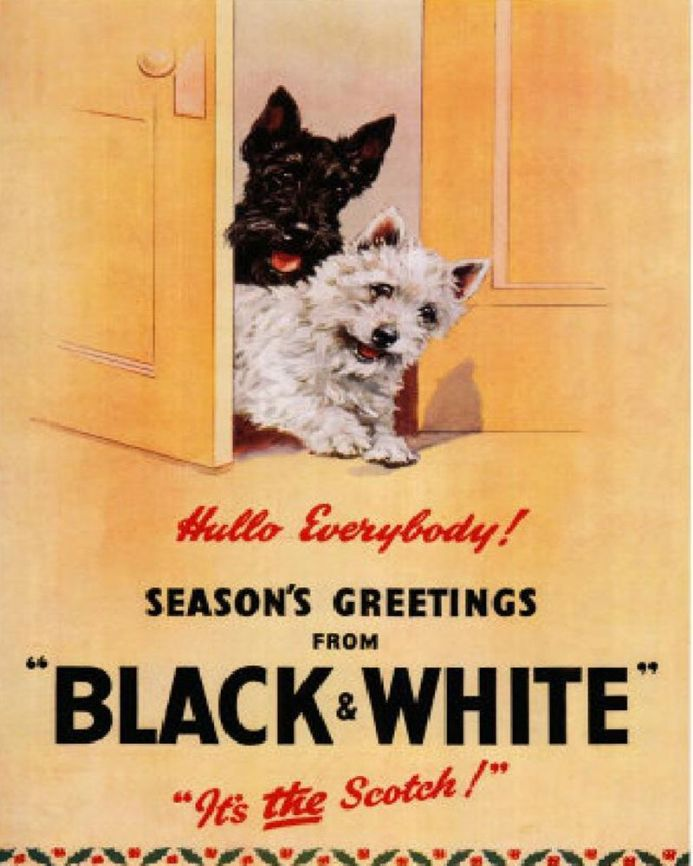 Seasons Greetings From Black and White Its the Scotch scottie - Metal Advertising Wall Sign Art